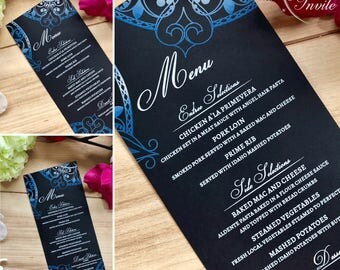 mandala menu cards wedding Indian henna heart design moroccan inspired