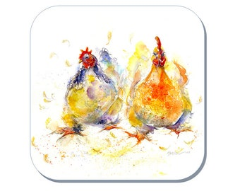 Chicken Run - Chicken Coaster (Corked Back) - from an original Sheila Gill Watercolour Painting