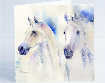 Two's Company Equine  - Greeting Card - Taken from an original Sheila Gill Watercolour Painting.