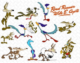 Road Runner and Wile E. Coyote svg, Road runner cartoon, Road Runner svg,  Wile E. Coyote svg / Road runner silhouette / beep beep /