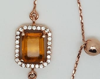 simulated yellow topaz/citrine sterling silver, rose gold plated