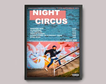 Bryce Vine Night Circus Custom Music Poster // Instant Download / Printable// A3 Album Art // Wall Art Poster Design // Giclee