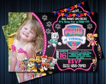 PAW PATROL INVITATION - Personalized Invitation - Custom Birthday - Printables Invitation - Digital file Download