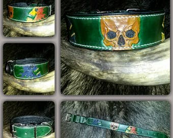 Dog collar, genuine leather, collar, skirt