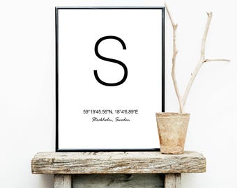 FREE SHIPPING**  Stockholm - Sweden - Latitude And Longitude - Poster