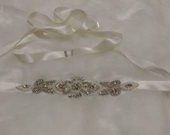 Ivory Rhinestones Bridal sash belt.