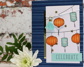 """Celebrate/Celebration Card with Lanterns in Blue with Orange, size A6 (4x6"""")"""