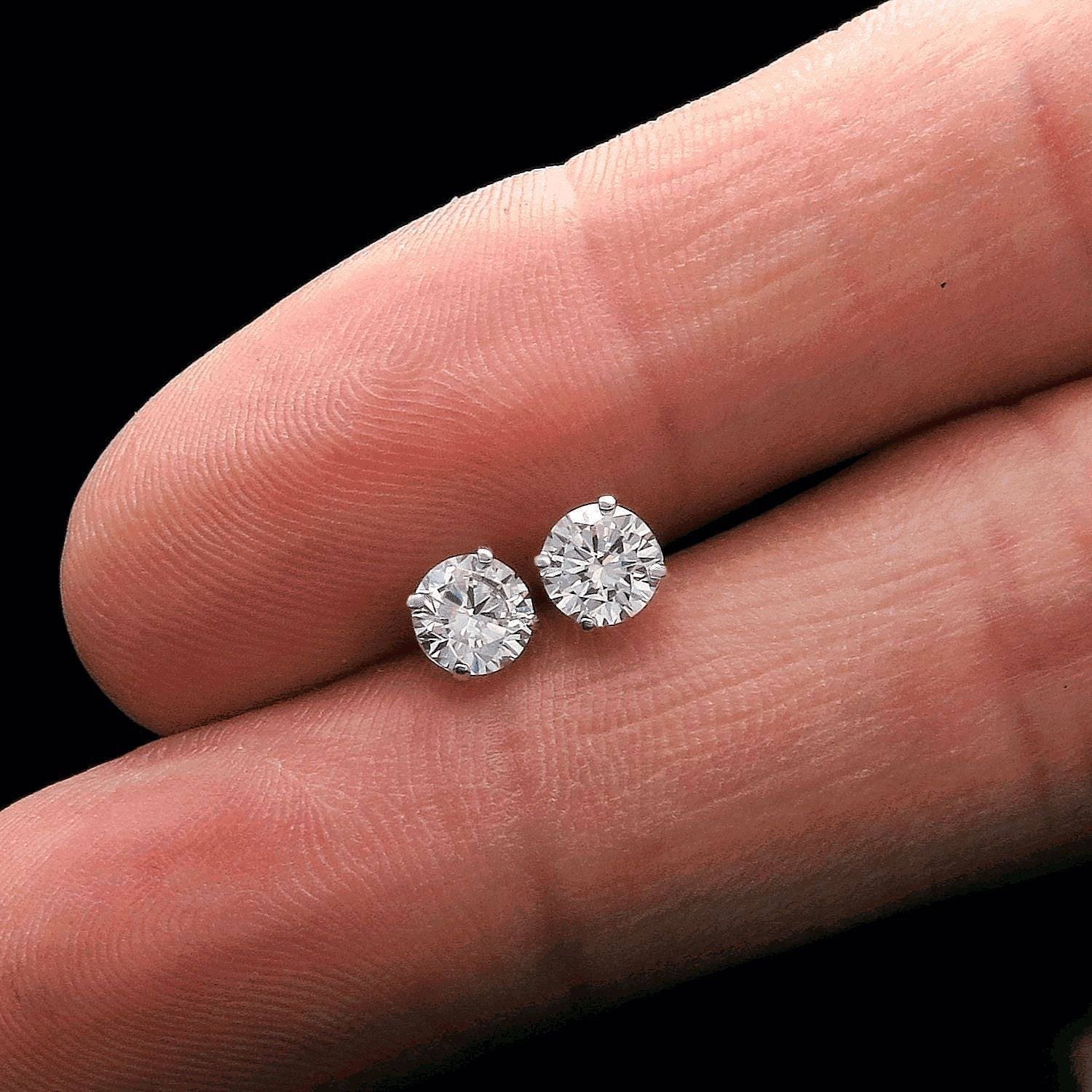 1CT Round Simulated Diamond Solitaire Earrings 14K White Gold Heavy ...