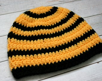 Striped Bee Hat // Size 6-10 Years