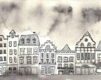 Postcard Dutch Kullisse in the rain
