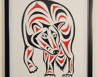 Coast Salish Wolf Design Print - Limited Edition