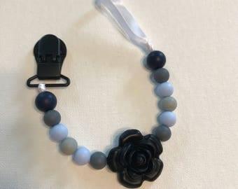 Black Rose Pacifier Clip