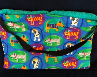 "Beach Towel Pool Bag Chair & Car Seat Cover - ""Dogs and Cats in Ovals"" Pocket -  with Jumbo TEAL Terrycloth Towel (BTB-54-0684-TTEAL-LB14L)"