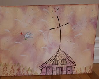 Humble Church of Holy Spirit - Original Painting on paper 11 x 15
