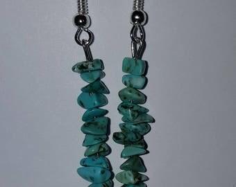 Turquoise socialite chip drop earrings