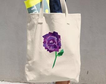 Geometric Purple Rose Tote Bag