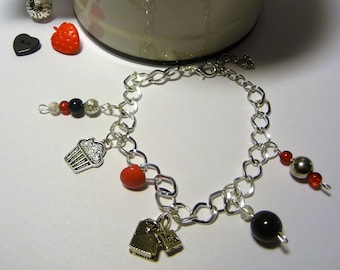 TREATS, silver bracelet, charm, button, beads, red, black