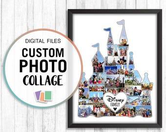 Disney Castle Photo Collage, Disneyland Gift, Walt Disney Gifts, Disney Photo Collage, Vacation Photo Gift, Personalized Photo Collage, Jpg