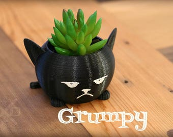 Cat planter, Mini planters, Kitty planter, Grumpy cat, Chubby cat planter, Succulent planters, Small plant pot, 3D printed planter