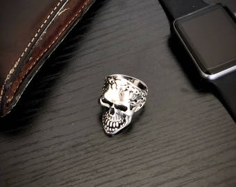 Heavy Wide 925 silver Skull Band