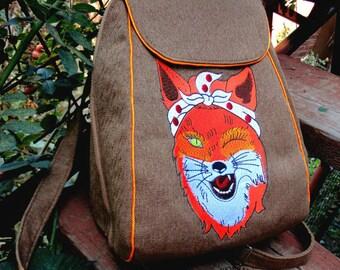Textile Backpack Embroidered Shoulder Bags Multifunctional Backpack for Traveling Bag for Girls Backpack for School Women's Backpacks Fox
