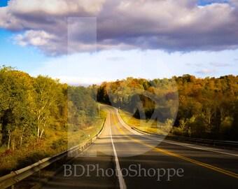 Winding Road Through Fall Foliage | Nature Photo Art | Gift | Fine Art Photography | Personalization | BDPhotoShoppe | Home Office Decor