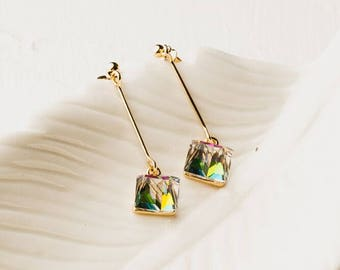 Multicolor Cubes Dangle Earrings / Glass Cube Earrings / Cube Earrings / Valentines Gift / Box Earrings / Cube Jewelry / Square Earring