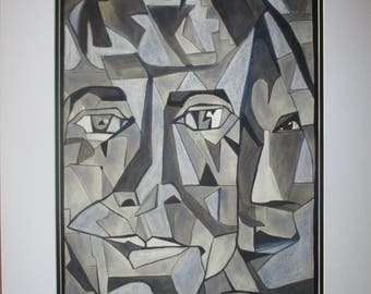 The power of two - black ink (cubist)