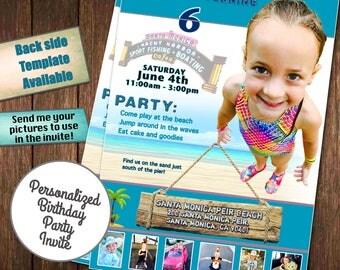 custom invitations, custom birthday party invites, beach invitations, pool party birthday invitations, Disney Invitations, party invitations
