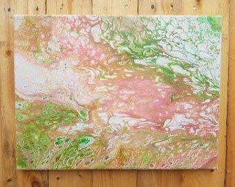 Pink Green Silver Glitter Fluid Acrylic Pour Painting Wall Decor