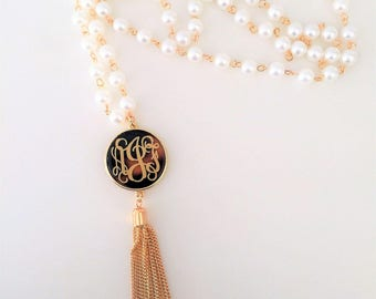 Pearl Tortise Monogram Necklace