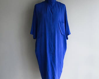 VTG  Blue Silk Shirt Dress  L
