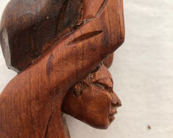 Hand wood carved Man with water bucket