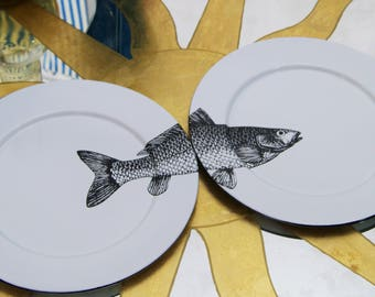 "Enamel Plates x2 Original Art Work Mexican Contemporary Design ""Sip of the Sea"""
