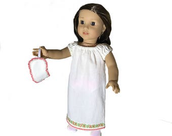 """Sweet, Soft Cream Nightgown With Sleep Mask/Fits 18"""" American Girl Doll/ Floor Length/ Great for Spring or Summer/ Sweet Dreams!"""