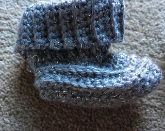 Sparkly silver baby booties
