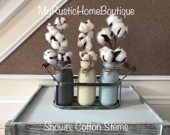 Cotten Stems/Cotton Arrangement/Painted Jars/Milk Jars/Caddy/Cotton/Basket with Jars/Rustic Decor/Farmhouse Decor/Rustic/Home Decor