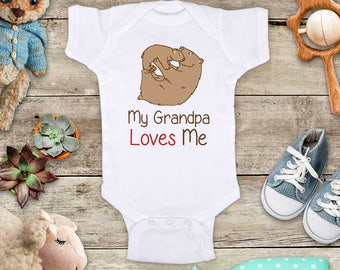 My Grandpa Loves Me brown bears - or Daddy Grandma Uncle Mommy Aunt Baby Bodysuit Shower Gift - Made in USA - toddler kids youth shirt