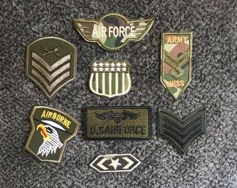 8pcs Iron-on Army embroidered patch