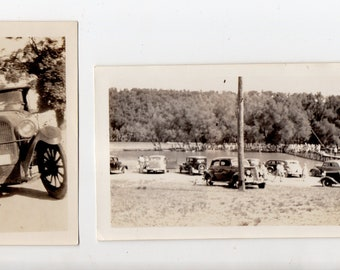 Antique Lot of 2 Car  Snapshots | Vintage Model T Era Cars Photo Photograph Snapshot Automobile Photos | Paper Ephemera |