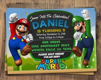 Super Mario Party Digital Invitation, Super Mario Invitation - Super Mario Birthday Party Invite - Mario Chalkboard Custom Printable Card