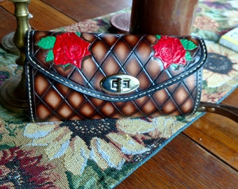 Tooled leather basket weave with roses clutch/wallet