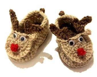 Unisex Hand Knitted/Crochet Baby Reindeer Booties
