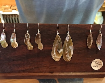 Freshwater mussel shell earrings
