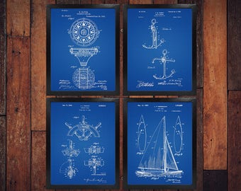 Sailing Patent Print Set Of 4 - Sailing Boat Patent Print - Yacht Design - Sailing Decor / Set Of Four (INSTANT DOWNLOAD)
