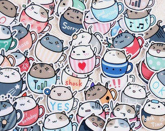 Cats in Cups Stickers | Planner Stickers