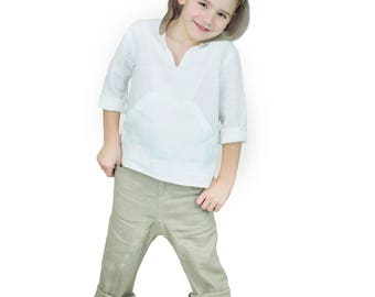 Handmade Linen Long Sleeve Hooded Toddler T-Shirt Tops And Trousers  Clothing Set For Boys For 4 - 9 Years