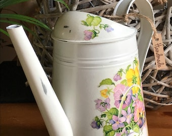 """Beautiful Watering Can """" Violets and Pansies """" !!!!"""