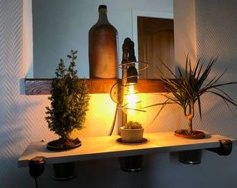 Surprising light shelf mini Zen Garden, vintage alloy & industrial.