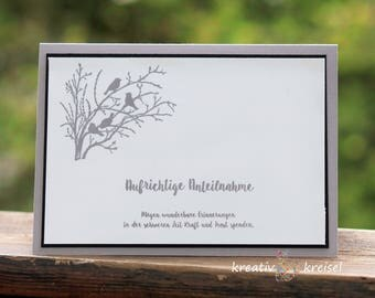 Mourning card, light grey with birds, with envelope